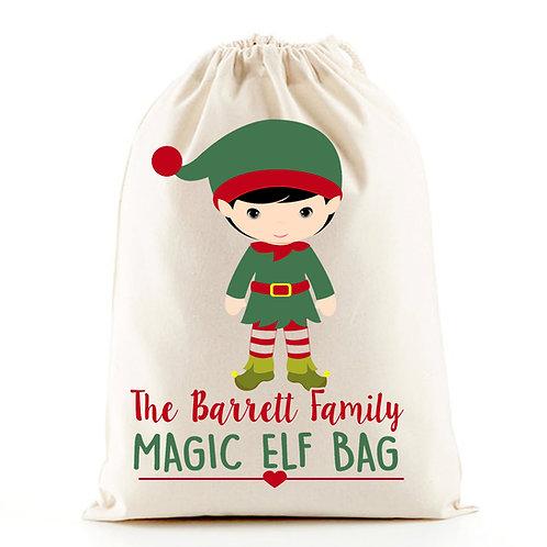 Family Christmas elf santa sack gift bag.