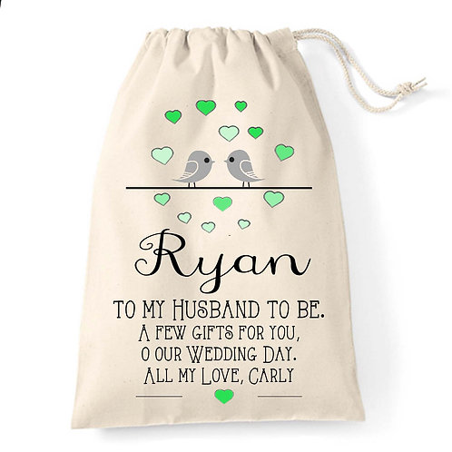 Love Birds wedding gift bag for your Groom