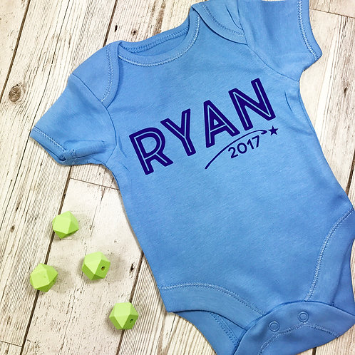 Personalised Baby Grow Vest Blue