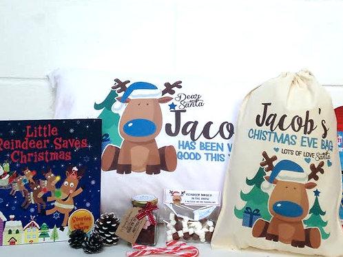 Pre filled Christmas Eve bag blue boy reindeer.