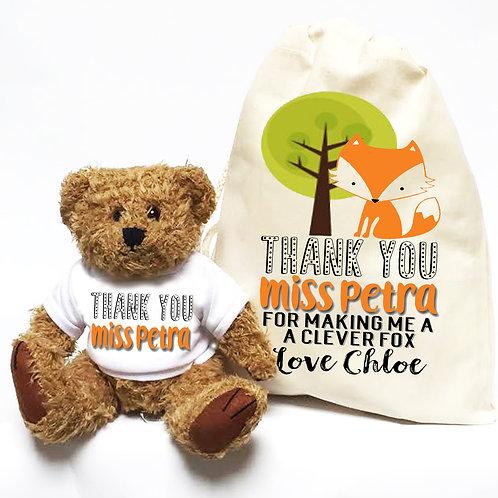 Clever Fox Teacher Teddy Bear & Bag