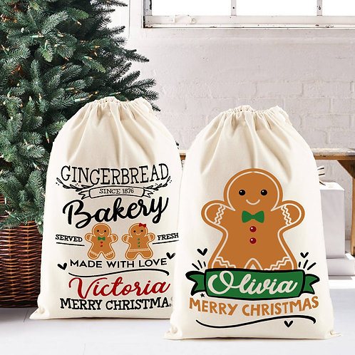 Gingerbread man, Christmas Santa Sack design.