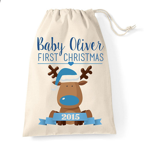 Baby's First Christmas stocking sack blue reindeer