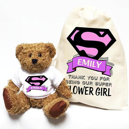 Personalised Superhero Flower Girl Bear