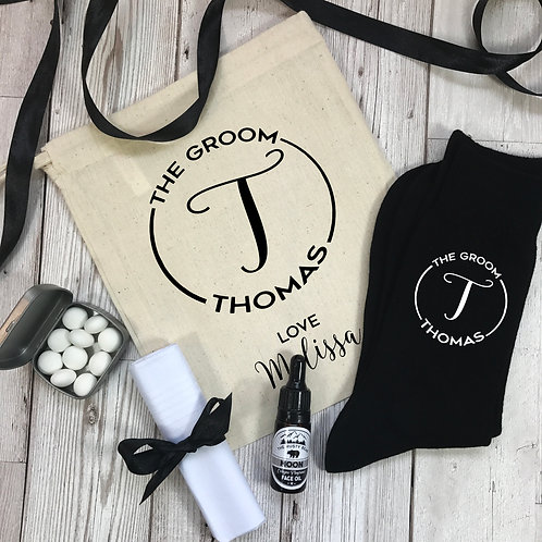Groom Monogram Socks and Gift Set