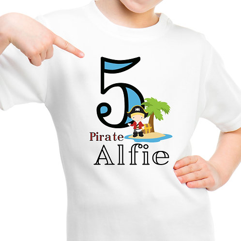 Pirate personalised boys t shirt.
