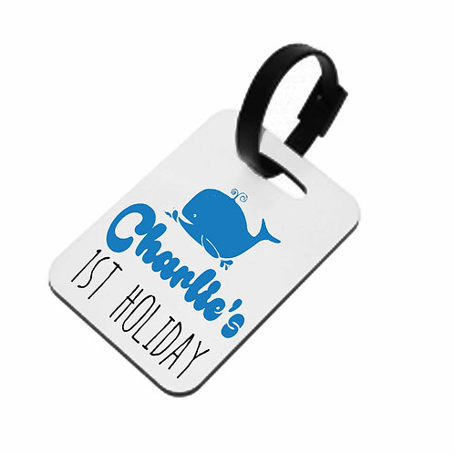 Whale 1st Holiday Luggage Tag