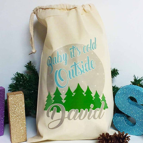 """Personalised Christmas gift bag """" BABY IT'S COLD OUTSIDE BLUE """""""