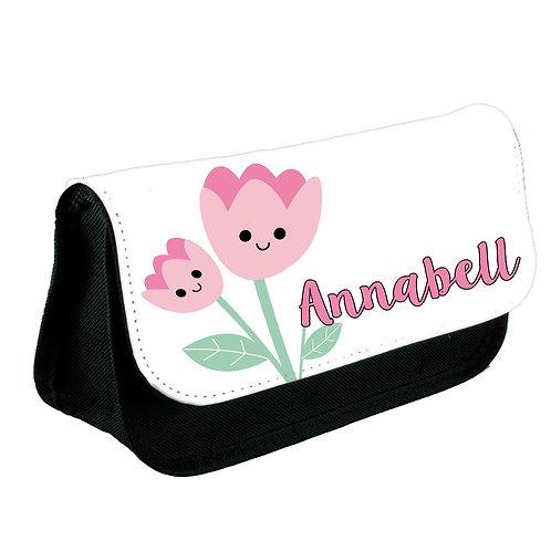 Cute flower print pencil case personalised.
