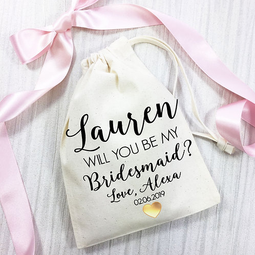 Will you be my Bridesmaid? Cotton gift bag. Gold heart design.