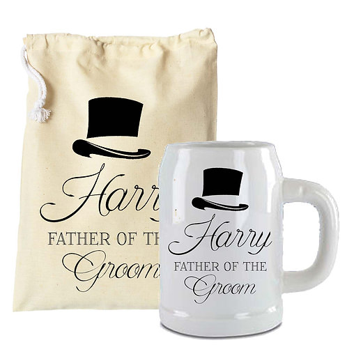 Beer Stein Groomsman Wedding Gift Top Hat