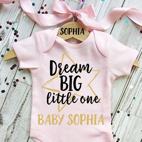 Dream big baby girl onesie and wooden hanger set.