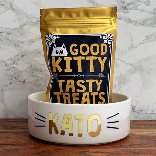 Personalised cat bowl and treats