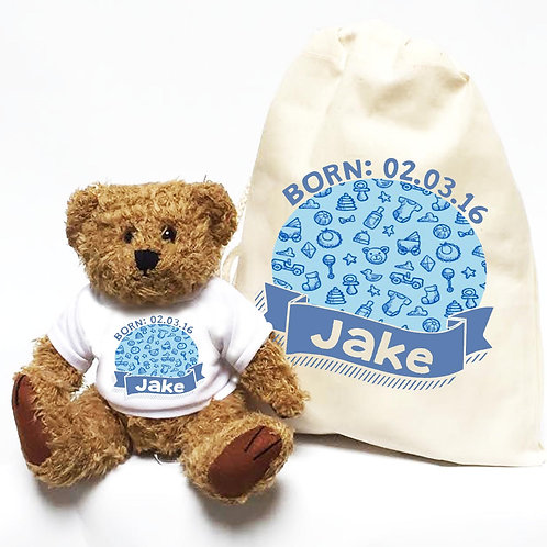 Boy's Blue Christening Personalised Bear