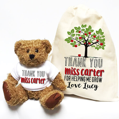 Apple Tree Teacher Teddy Bear & Bag