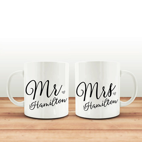 Mr and Mrs mug set.