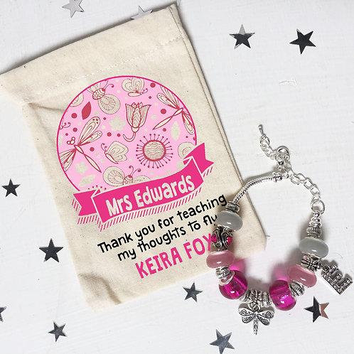 Teacher Dragonfly Charm Bracelet + Bag