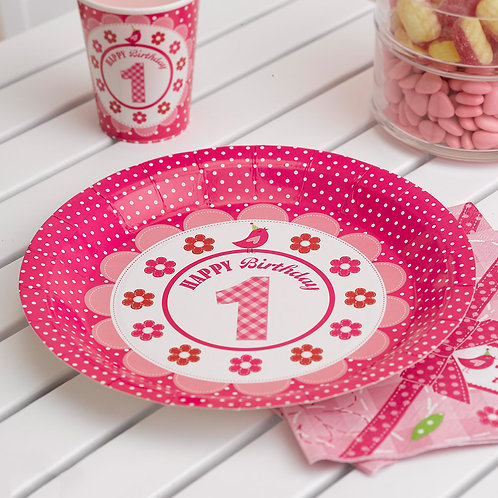 Pink paper plates.