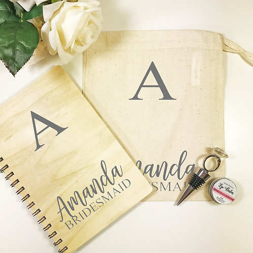 Personalised wooden note book wedding gift set