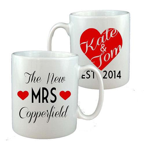 Personalised New Mrs Wedding Mug