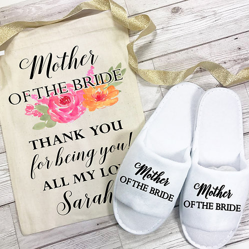 Slipper and bag gift set for the Mother of the Bride. Spa weekend.
