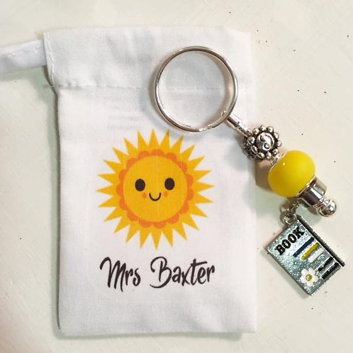 Personalised teacher key chain bag charm sunshine