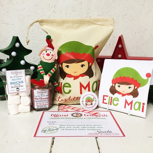 Personalised Girl Elf Christmas Eve pre filled gift set