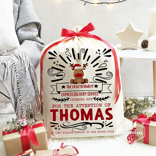 Christmas Santa Sack | Reindeer typography