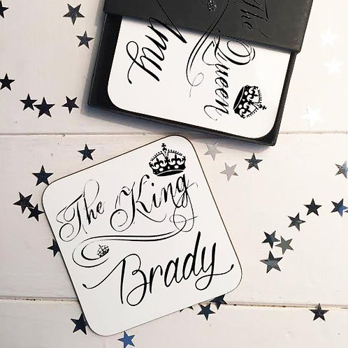 King and Queen wedding coaster gift set