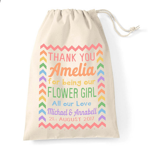 Personalised colourful flower girl gift bag