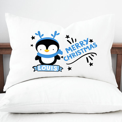 Pillow case, blue penguin, christmas bedroom decoration.