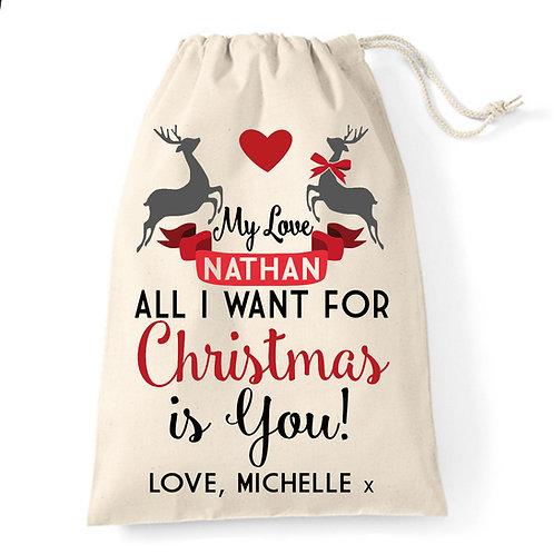 Personalised boyfriend cotton gift santa sack.
