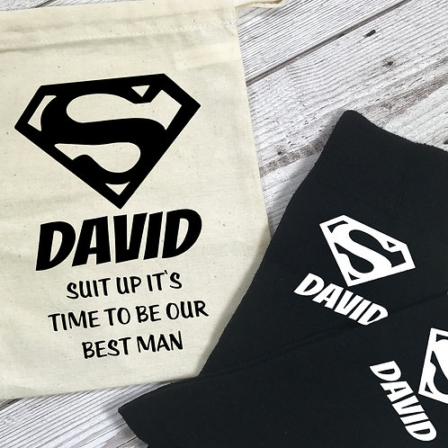 Superhero Best Man Personalised Socks and Bag