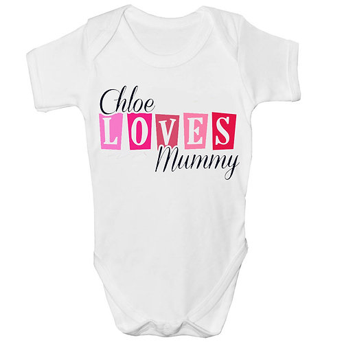 Beautiful Loves Mummy Personalised Baby Grow