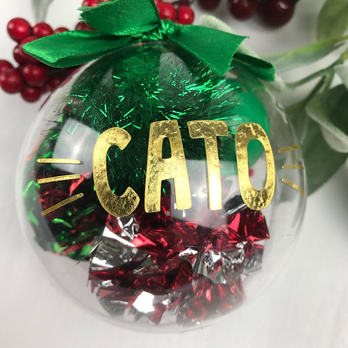 Cat Christmas Bauble Personalised Pet Decoration