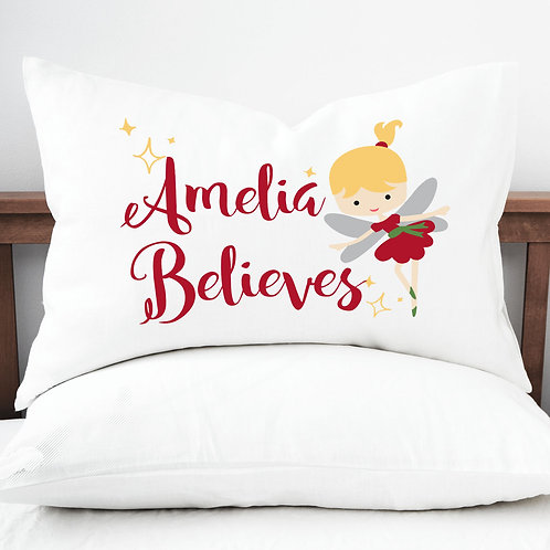Personalised pillow case believe fairy