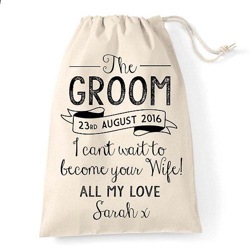 Personalised Groom gift bag vintage style