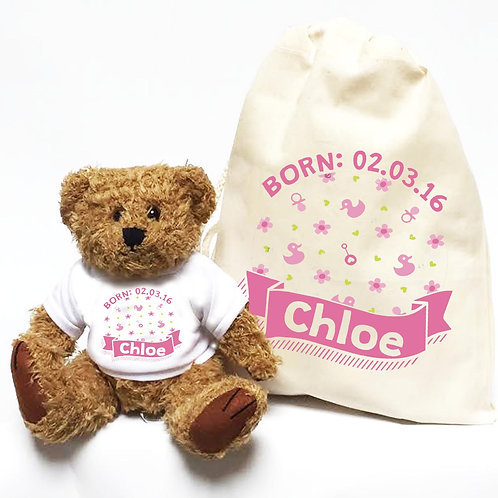 Girl's Pink Christening Personalised Teddy Bear