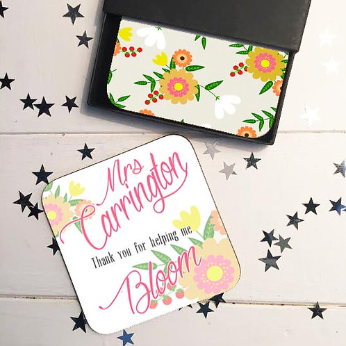 Teacher coaster gift set floral design