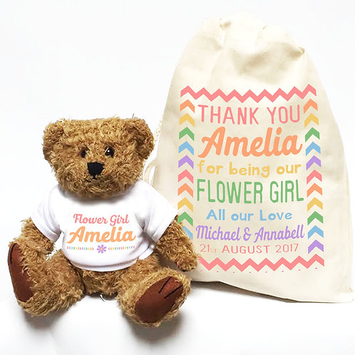 Flower Girl colourful personalised teddy and bag