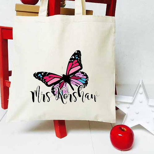 Personalised Butterfly teacher tote bag
