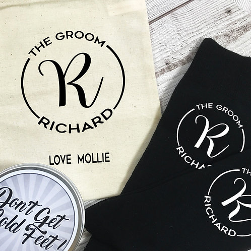 The Groom Mongram Personalised Socks, Tin and Bag