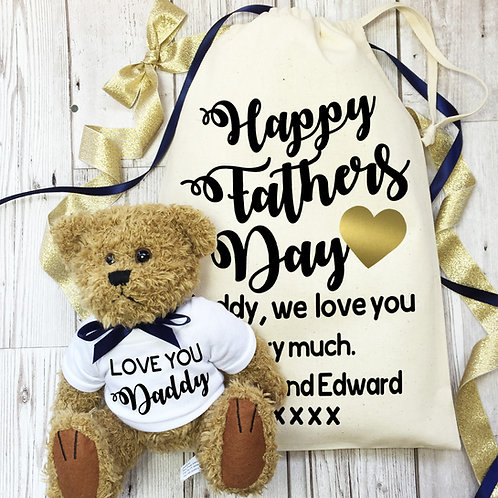 Teddy bear and gift bag for Daddy on Father's Day.