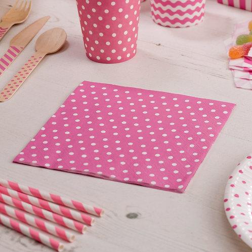 Pink polka dot hen party napkins.