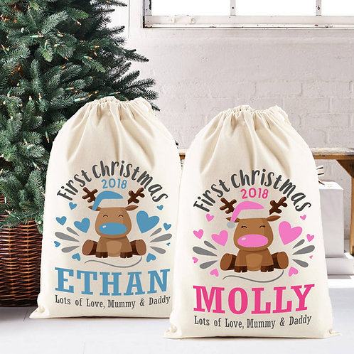 Babys first Christmas Santa Sack gift bag in pink or blue.