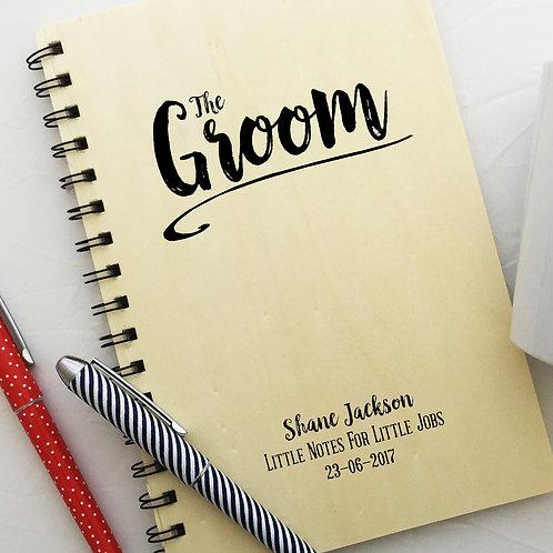 Personalised Groom Wooden Note Book