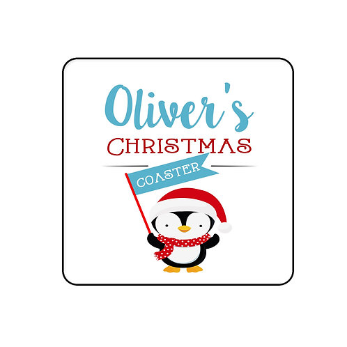 Christmas table coaster Cute Penguin.