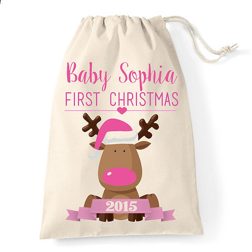 Baby's First Christmas stocking sack pink reindeer