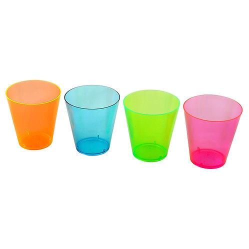 Mulit coloured plastic shot glasses.