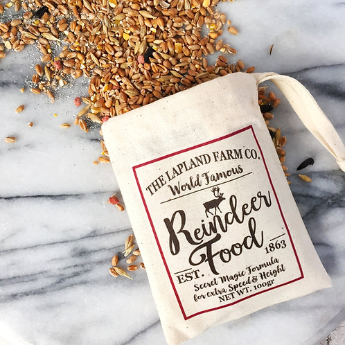 Reindeer food in cotton bag.